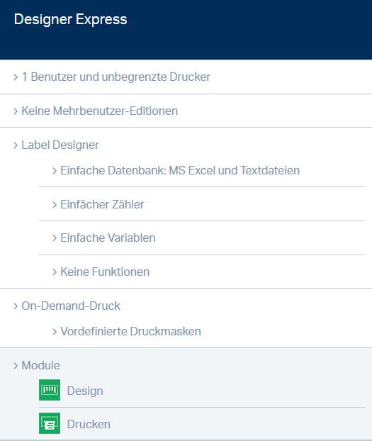 NiceLabel Designer Express - Funktionsübersicht
