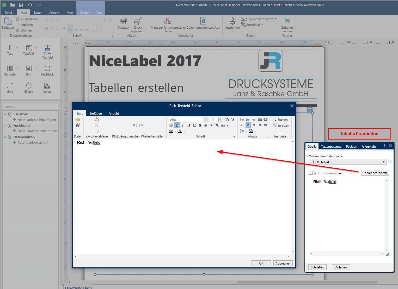 So erstellen Sie Tabellen mit NiceLabel 2017 DesignerPro